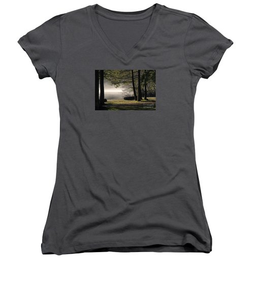 Women's V-Neck T-Shirt (Junior Cut) featuring the photograph Morning Fog by Inge Riis McDonald