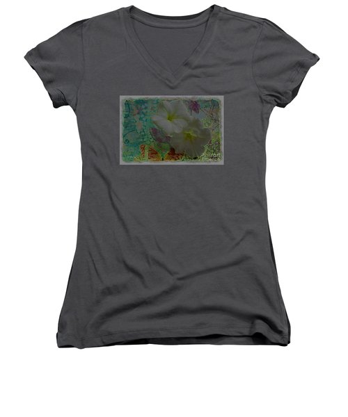 Morning Glory Fantasy Women's V-Neck T-Shirt (Junior Cut) by Donna Bentley