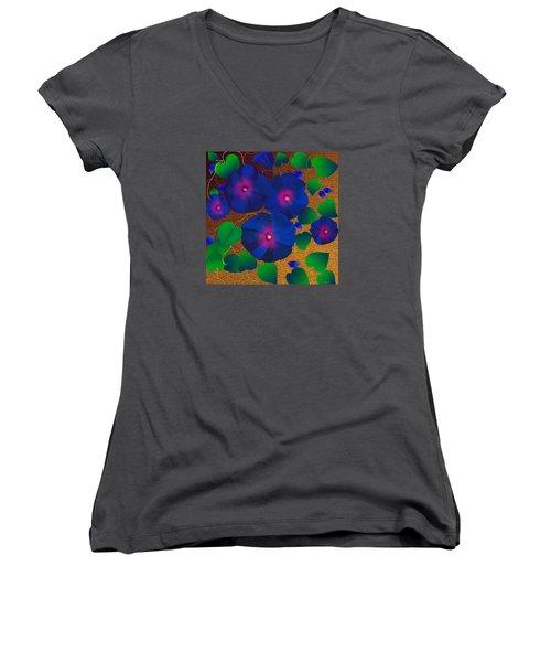 Morning Glory Women's V-Neck T-Shirt (Junior Cut) by Latha Gokuldas Panicker