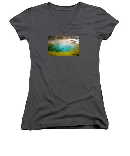 Morning Glory Pool Yellowstone National Park Women's V-Neck