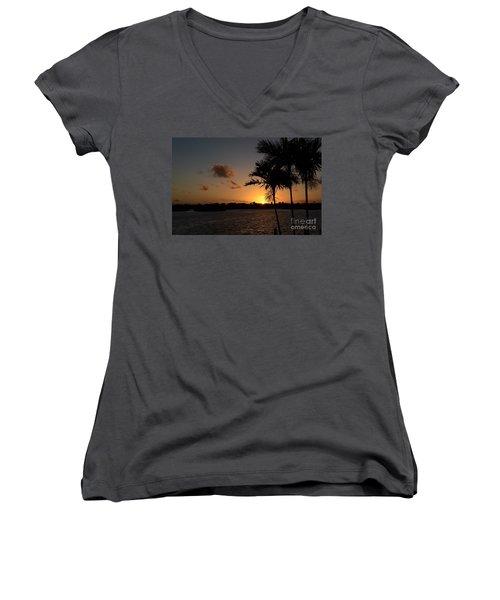 Women's V-Neck T-Shirt (Junior Cut) featuring the photograph Morning Has Broken by Pamela Blizzard