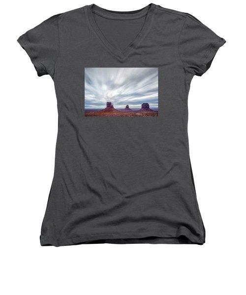 Morning In Monument Valley Women's V-Neck T-Shirt (Junior Cut) by Jon Glaser