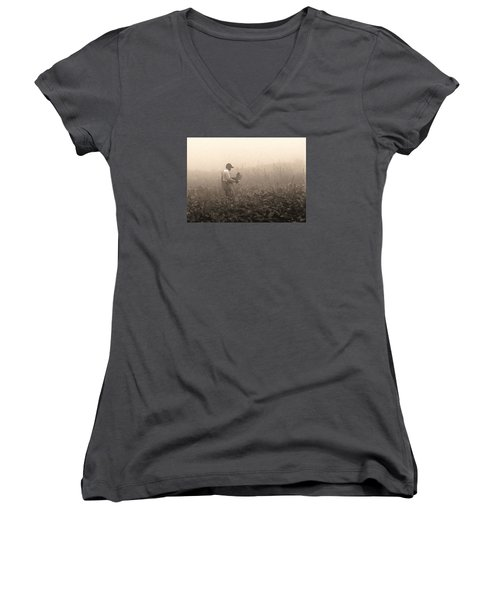 Morning In The Fields Women's V-Neck T-Shirt (Junior Cut) by Stephen Flint
