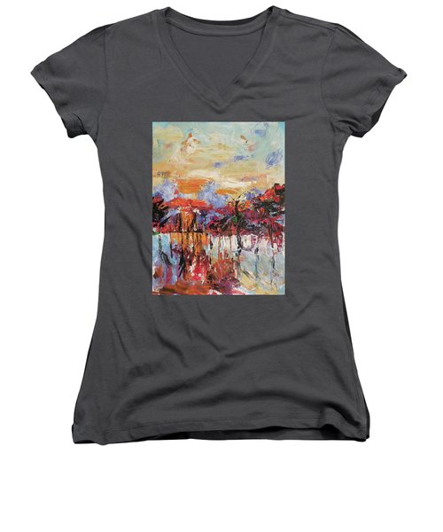 Morning In The Garden Women's V-Neck T-Shirt (Junior Cut)