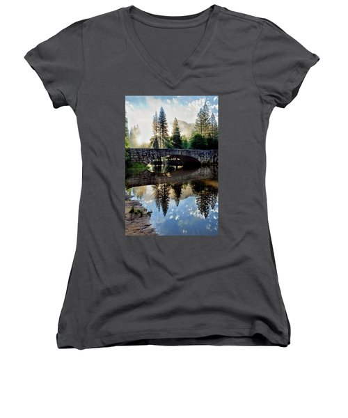 Morning Light Along The Merced River Women's V-Neck T-Shirt