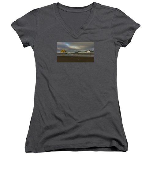 Morning Light On The Beach Women's V-Neck T-Shirt (Junior Cut) by Ulrich Burkhalter