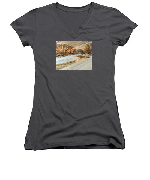 Morning Light On The Riverbank Women's V-Neck