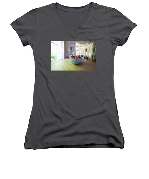 Morning On The Farm Women's V-Neck (Athletic Fit)