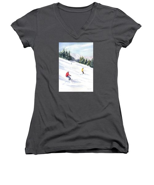 Women's V-Neck T-Shirt (Junior Cut) featuring the painting Morning On The Mountain by Vikki Bouffard