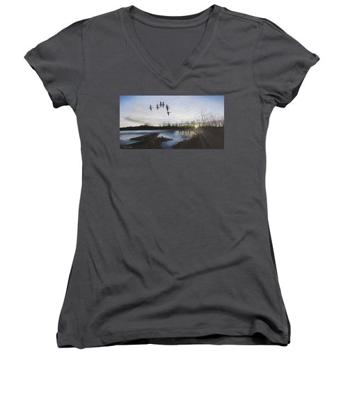 Morning Retreat - Pintails Women's V-Neck