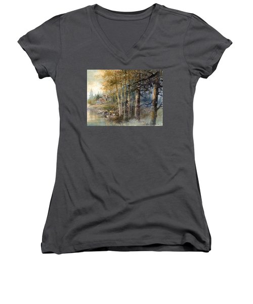 Women's V-Neck featuring the painting Morning River by Andrew King