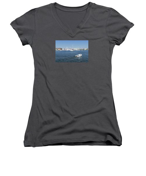 Women's V-Neck T-Shirt featuring the photograph Solitude On The Creek by Charles Kraus