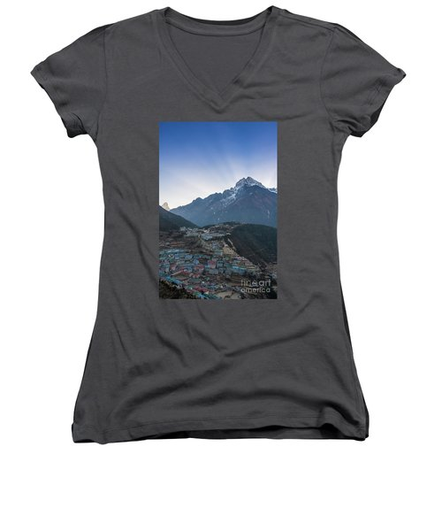 Women's V-Neck T-Shirt (Junior Cut) featuring the photograph Morning Sunrays Namche by Mike Reid