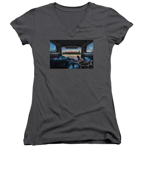 Morning Views Women's V-Neck T-Shirt (Junior Cut) by Alpha Wanderlust