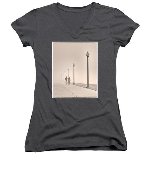 Morning Walk Women's V-Neck T-Shirt (Junior Cut) by Don Spenner