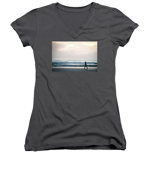 Morning Walk With Color Women's V-Neck T-Shirt