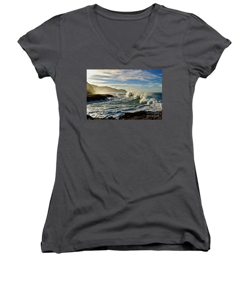 Morning Waves At Kaena Women's V-Neck (Athletic Fit)
