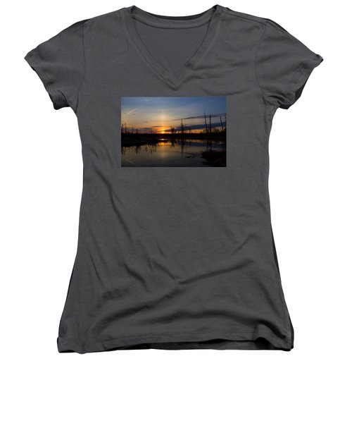Morning Wilderness Women's V-Neck T-Shirt (Junior Cut) by Gary Smith