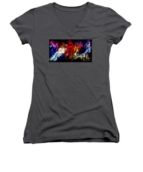 Women's V-Neck T-Shirt featuring the digital art Morphism Of Desire by Rafael Salazar