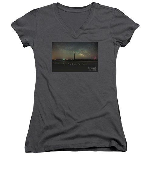 Morris Island Light House Milky Way Women's V-Neck T-Shirt (Junior Cut) by Robert Loe