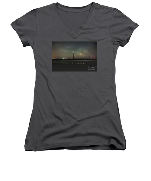 Morris Island Light House Milky Way Women's V-Neck (Athletic Fit)