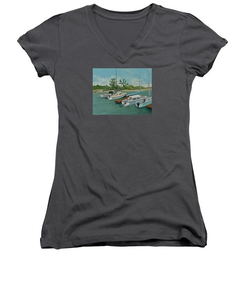 Women's V-Neck T-Shirt (Junior Cut) featuring the painting Morro Bay State Park Ca by Katherine Young-Beck