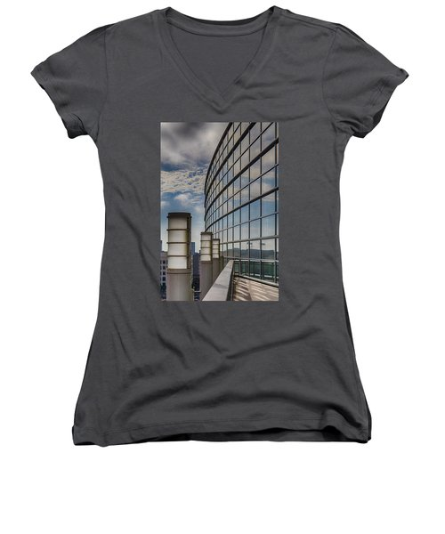 Women's V-Neck T-Shirt (Junior Cut) featuring the photograph Moscone West Balcony by Darcy Michaelchuk