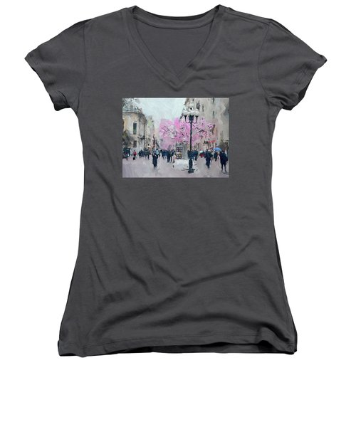 Moscow Arbat Street View Women's V-Neck (Athletic Fit)