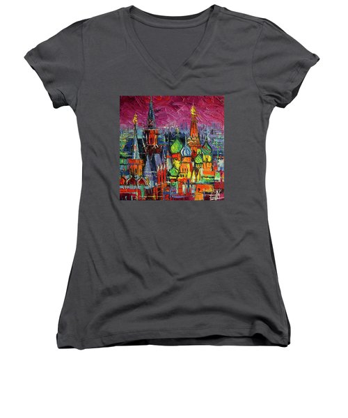 Moscow Red Square View Modern Impressionist Stylized Cityscape Women's V-Neck (Athletic Fit)