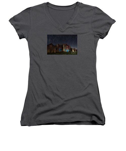 Mosheim Texas Schoolhouse Women's V-Neck T-Shirt (Junior Cut) by Keith Kapple