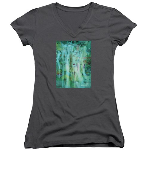 Women's V-Neck T-Shirt (Junior Cut) featuring the painting Mossy Falls by Elizabeth Carr