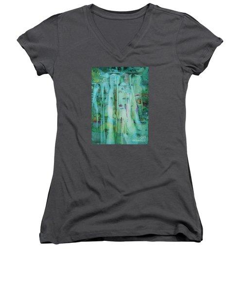 Mossy Falls Women's V-Neck T-Shirt (Junior Cut) by Elizabeth Carr