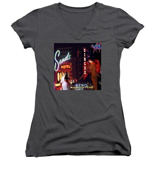 Motel Variations Angels Women's V-Neck T-Shirt (Junior Cut) by Ann Tracy