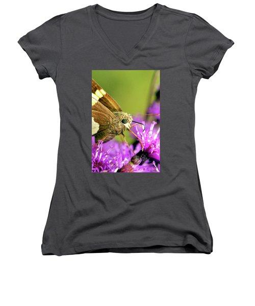 Women's V-Neck T-Shirt (Junior Cut) featuring the photograph Moth On Purple Flower by Meta Gatschenberger