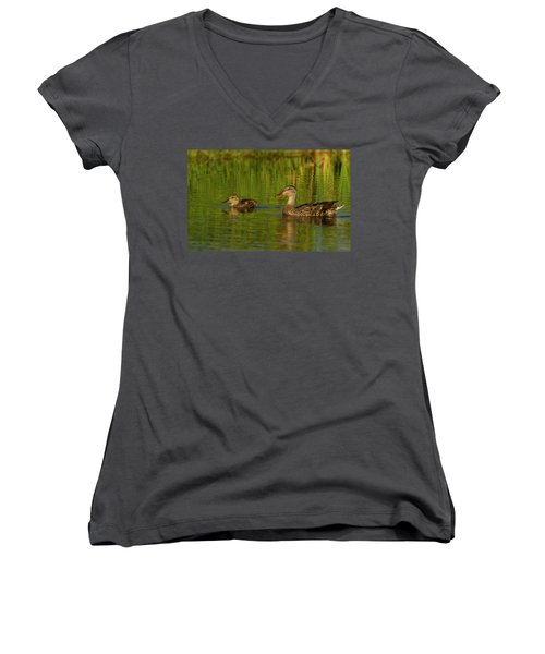 Women's V-Neck T-Shirt (Junior Cut) featuring the photograph Mother And Child Mallards by Jean Noren