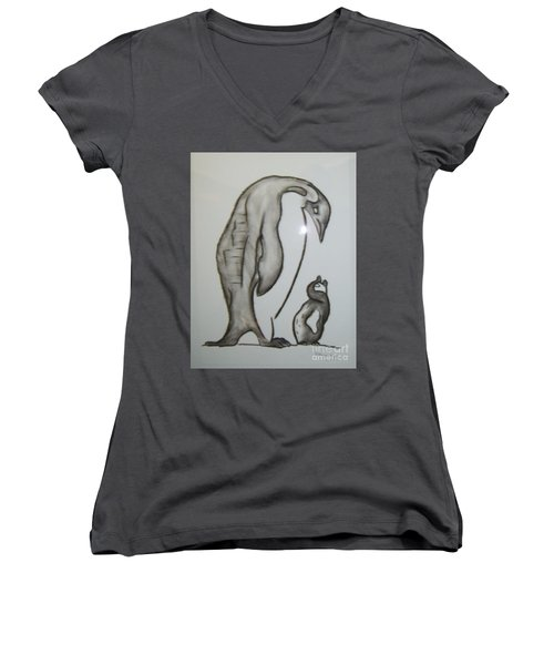 Mother And Child Penguins Women's V-Neck (Athletic Fit)