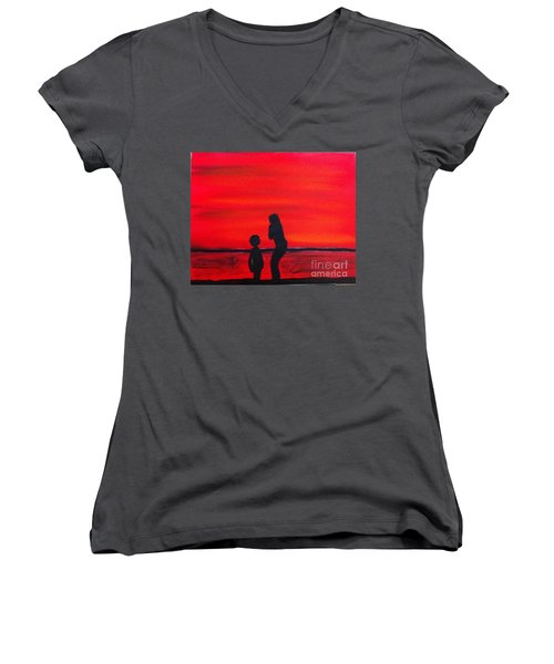 Women's V-Neck T-Shirt (Junior Cut) featuring the painting Mother And Child by Rod Jellison
