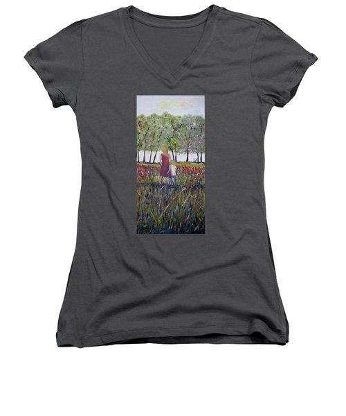 Women's V-Neck T-Shirt (Junior Cut) featuring the painting Mother And Son by Marilyn  McNish