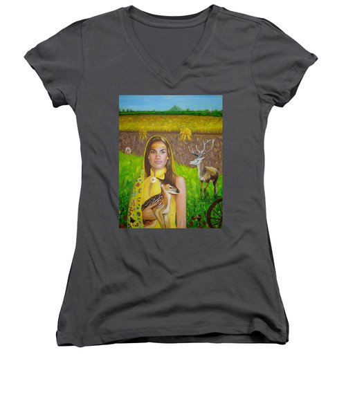 Mother Goddess Ker - Lammas Women's V-Neck (Athletic Fit)