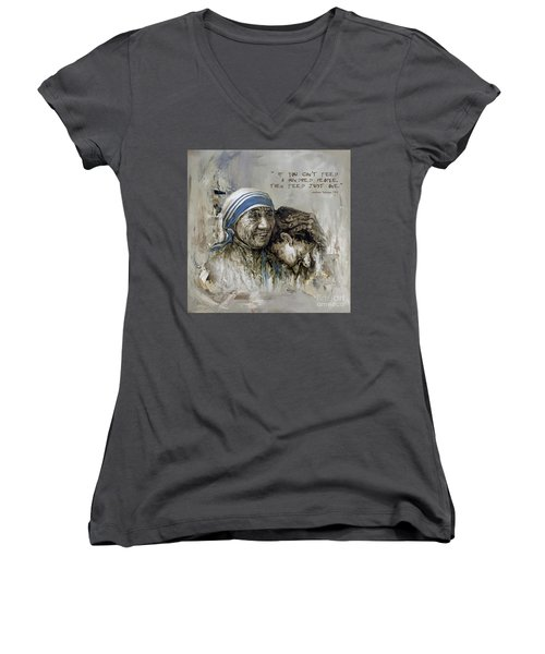 Women's V-Neck T-Shirt (Junior Cut) featuring the painting Mother Teresa Portrait  by Gull G