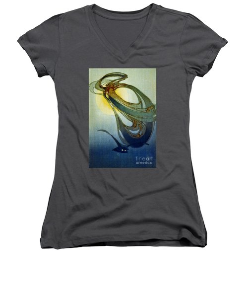 Mother West Wind 1920 Women's V-Neck T-Shirt (Junior Cut) by Padre Art