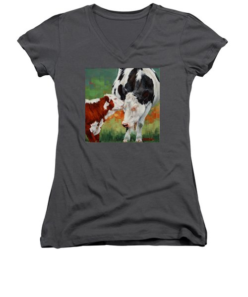 Women's V-Neck T-Shirt (Junior Cut) featuring the painting Mothers Little Helper by Margaret Stockdale