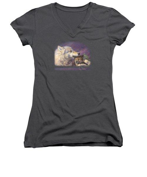 Mother's Love Women's V-Neck T-Shirt (Junior Cut) by Lucie Bilodeau