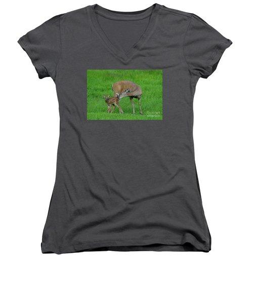 Mother's Love Women's V-Neck T-Shirt (Junior Cut) by Sandra Updyke
