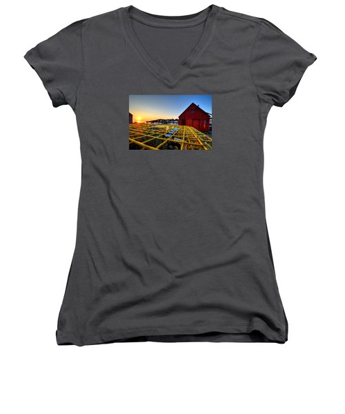 Motif 1 Lobster Trap Sunrise Women's V-Neck T-Shirt