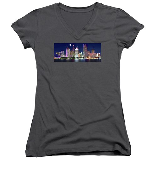 Women's V-Neck T-Shirt (Junior Cut) featuring the photograph Motor City Night With Full Moon by Frozen in Time Fine Art Photography