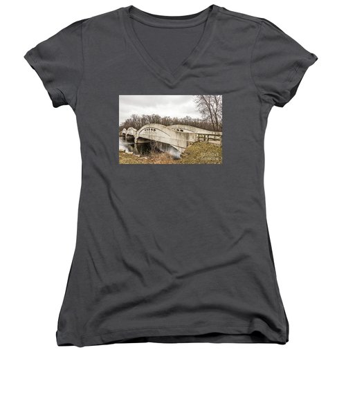 Mottville Bridge On Us 12 In Michigan Women's V-Neck