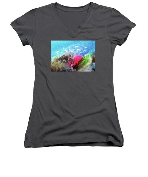 Women's V-Neck T-Shirt (Junior Cut) featuring the painting Motu Anua by Ed Heaton