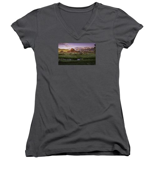 Moulton Barn At Dawn Women's V-Neck (Athletic Fit)