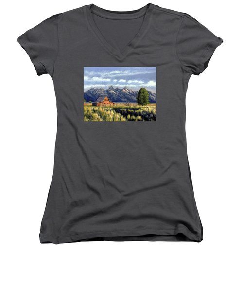 Moulton Barn At The Grand Tetons Women's V-Neck (Athletic Fit)